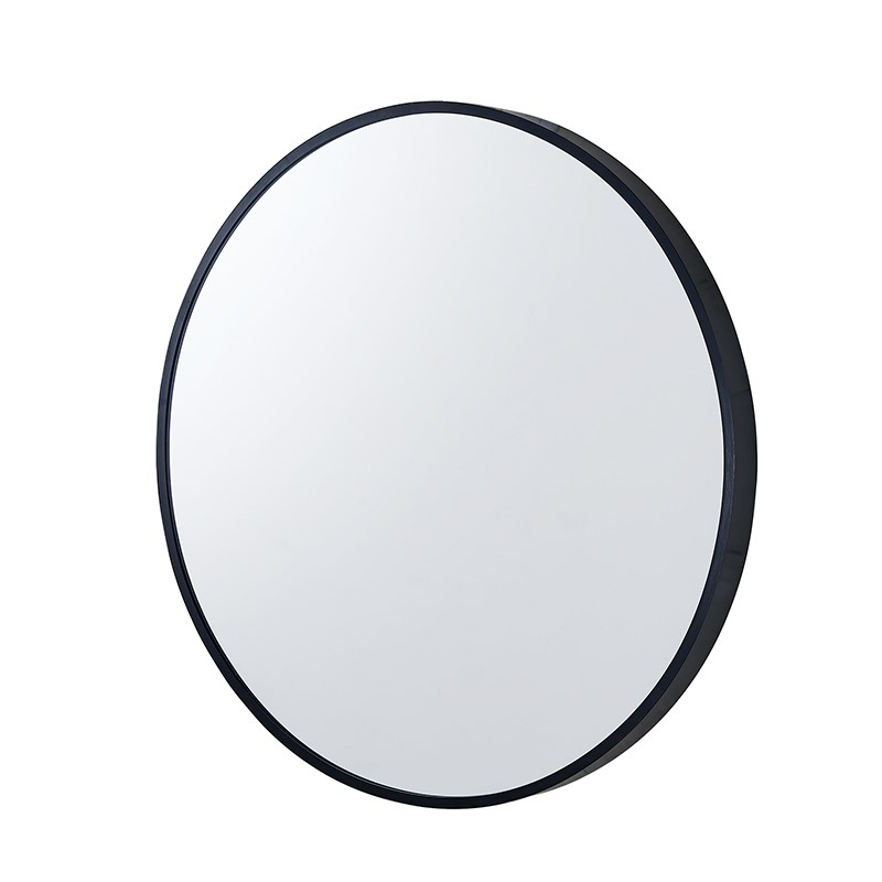 800x800x40mm Black Aluminum Framed Round Bathroom Wall Mirror with Brackets