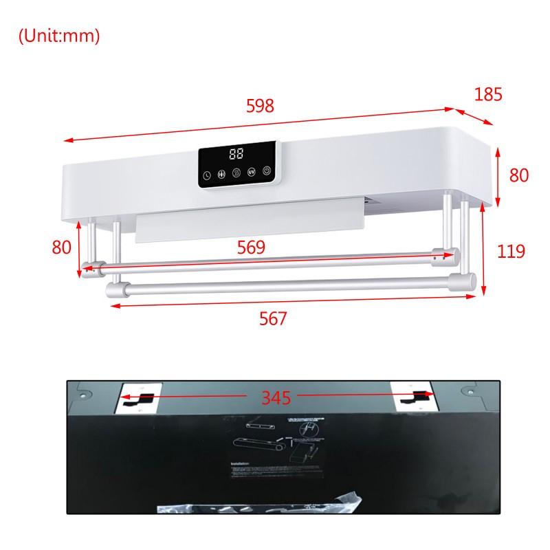 Intelligent Timer UV Sterilizer Heated Towel Dryer w/ Rails Right Power