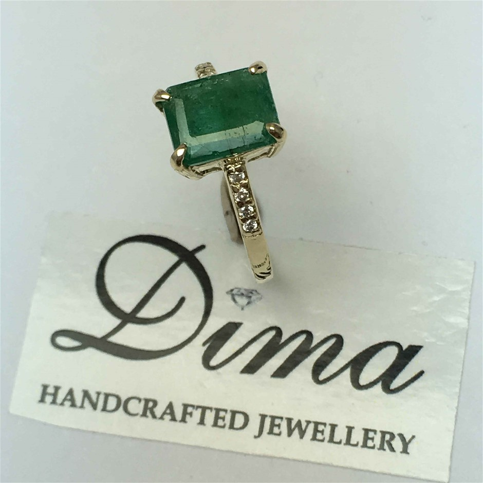 9ct Yellow Gold, 2.01ct Emerald and Diamond Ring