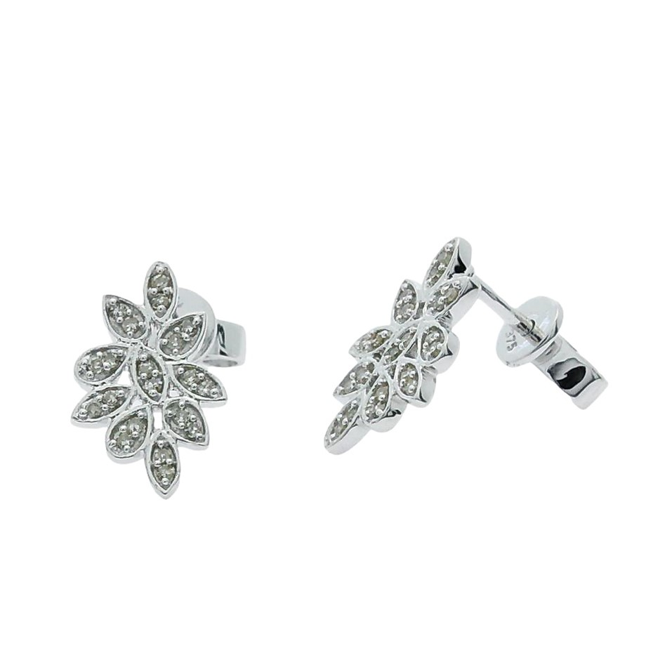 9ct White Gold, 0.17ct Diamond Earring