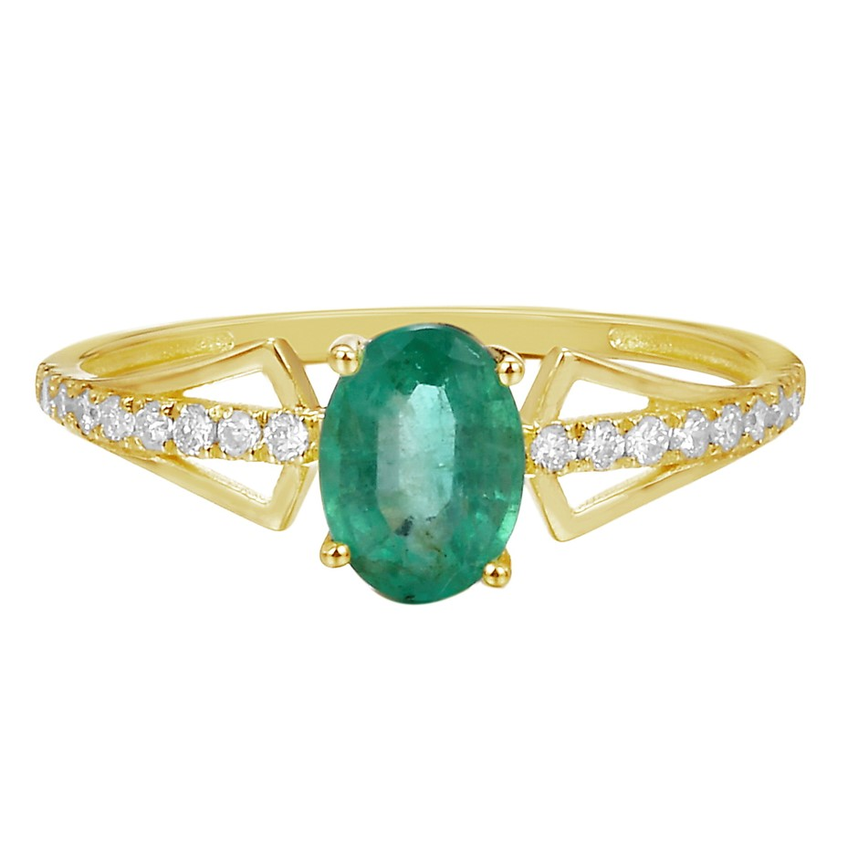 9ct Yellow Gold, 0.73ct Emerald and Diamond Ring