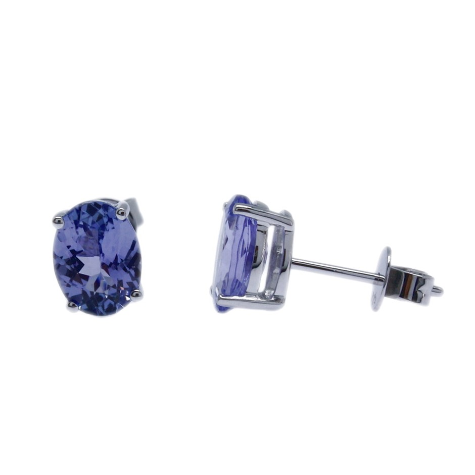 9ct White Gold, 2.25ct Tanzanite Earring