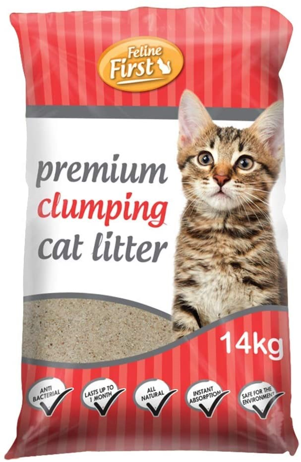 FELINE FIRST Premium Clumping Cat Litter 14 kg, N. B Minor Damaged. (SN:B02