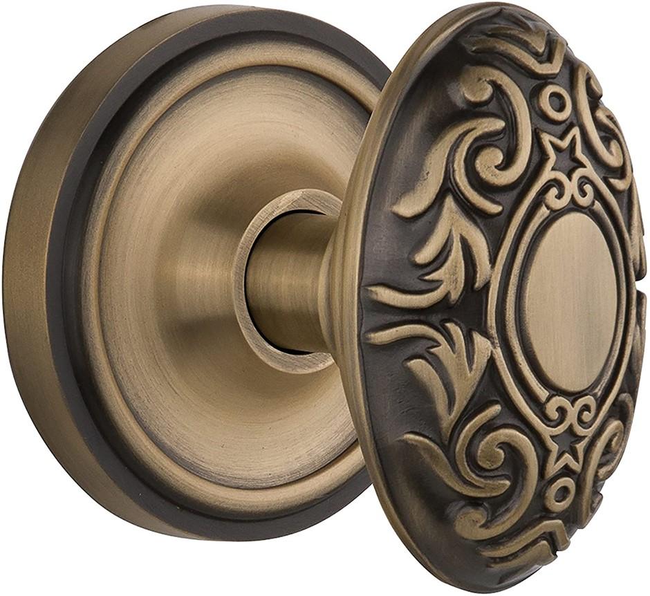 NOSTALGIC WAREHOUSE Classic Rosette Door Knob, Privacy- 2.375``, Antique Br