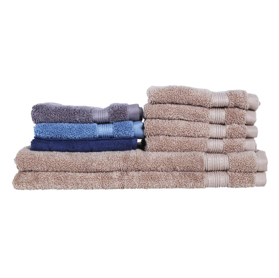 9 x Assorted GRANDIOSE Face & Hand Towels, 100% Hydrocotton, Assorted Colou