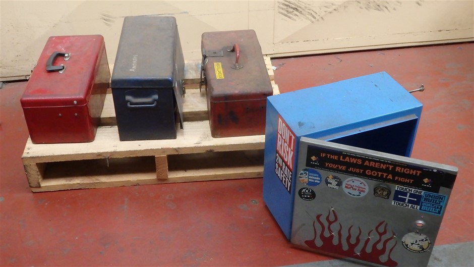 3x Assorted Steel Tool Boxes and 1x Storage Box