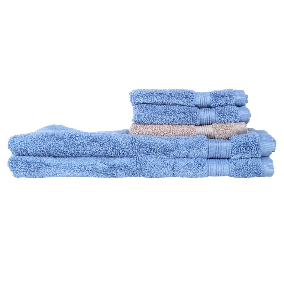 5 x Assorted GRANDIOSE Hand & Face Towels, Blue & Brown. N.B. Not in origin