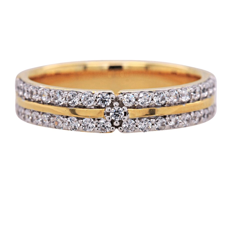 Yellow Gold Plated Sterling Silver White CZ Dress Ring.