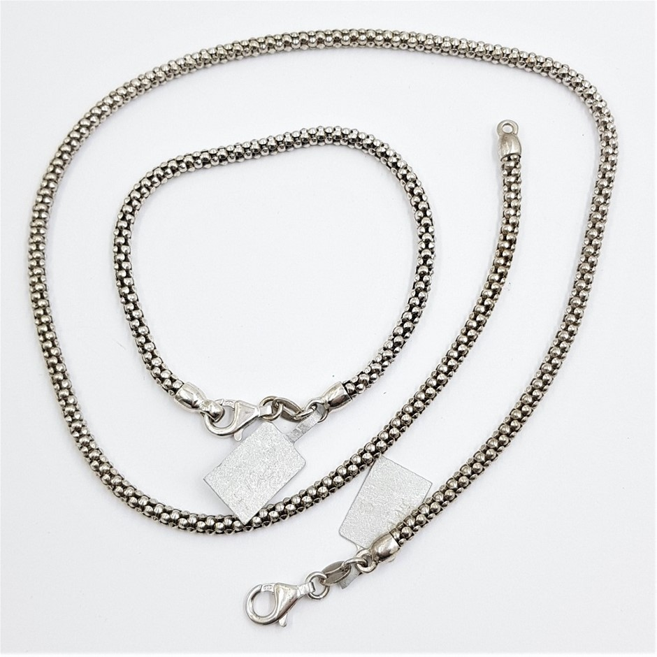 Sterling Silver 3.5mm Diam Necklace & Matching Bracelet.