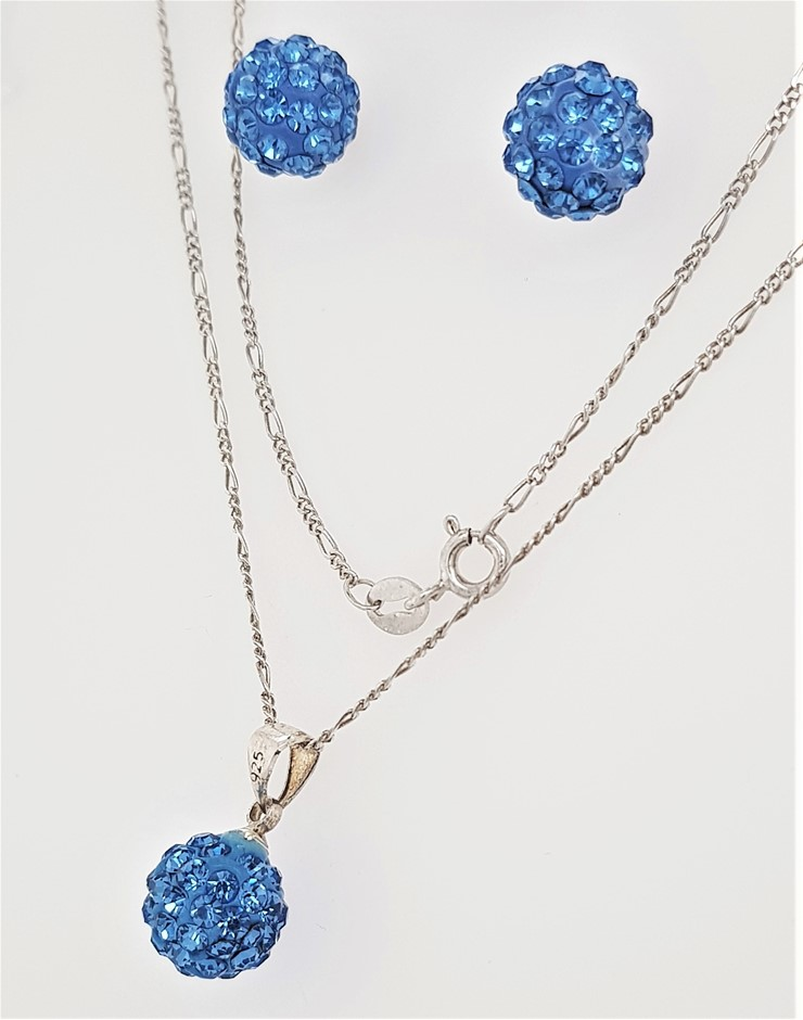 Sterling Silver Blue CZ Disco Ball Necklace & Matching Earrings Set.