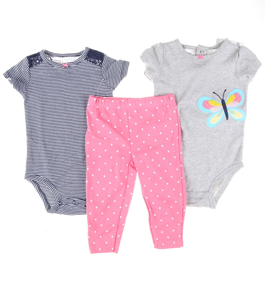 2 x Girl`s 3pc CARTER`S Clothing Set, Size 9M, 100% Cotton, Comprising; One