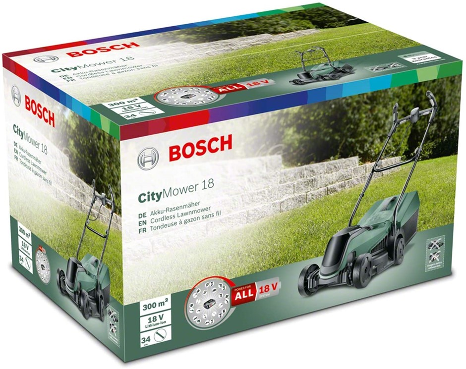 BOSCH CityMower 18V Cordless Lawnmower, 34cm Cut Width. Skin Only. (SN:B07Q