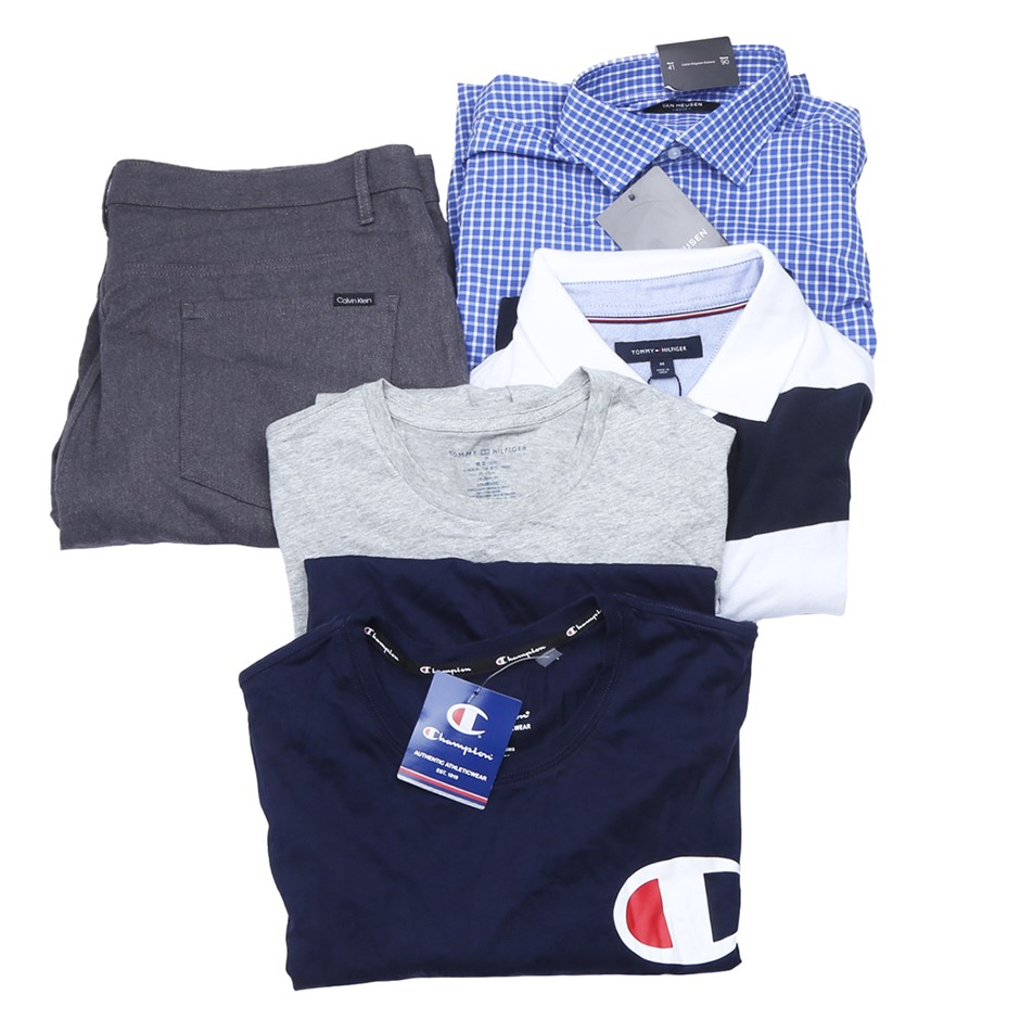 Bag of Mixed Men`s Clothing, Comprised: Champion, Calvin Klein & More, Size