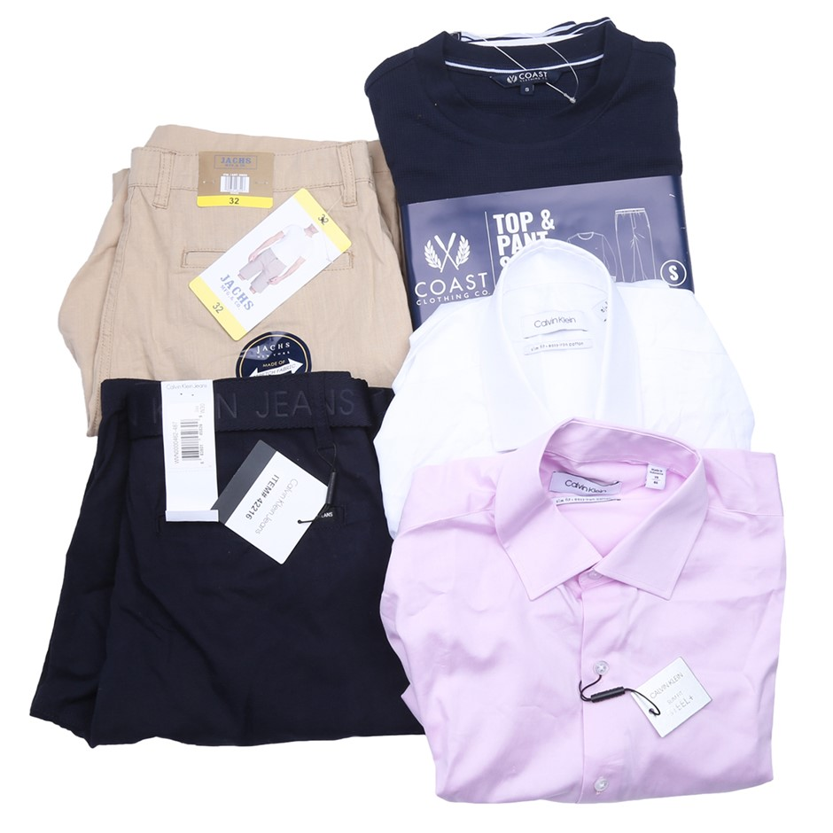 Bag of Mixed Men`s Clothing, Comprised: Calvin Klein, Jachs & More, Size S.