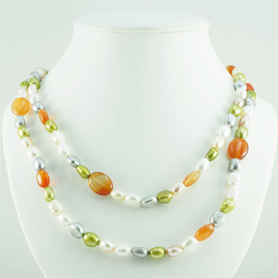 Freshwater Pearl and red agate 120cm necklace