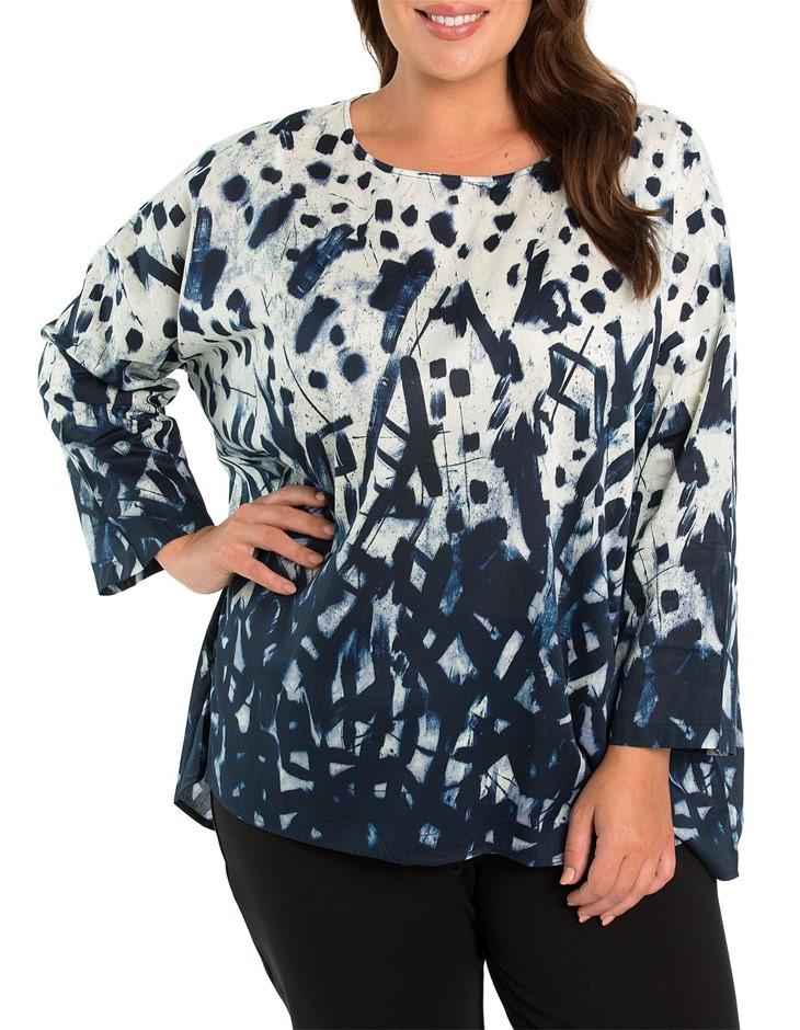 YARRA TRAIL PLUS 3/4 Sleeve Printed Overshirt. Size 22, Colour: Embers Prin