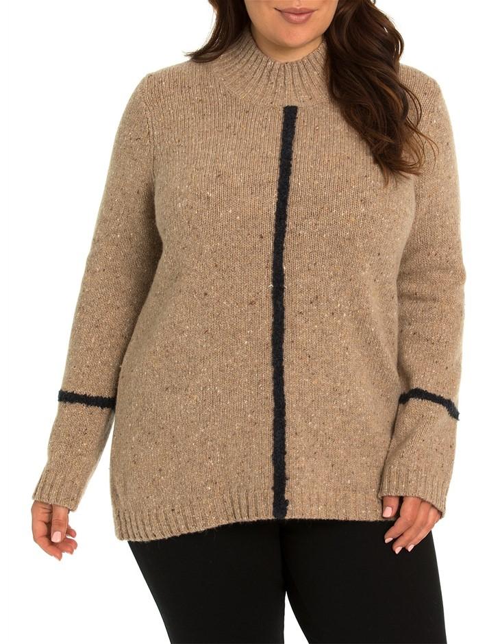 YARRA TRAIL PLUS Tipping Stripe Knit. Size L, Colour: Sand Mix. Merino Wool
