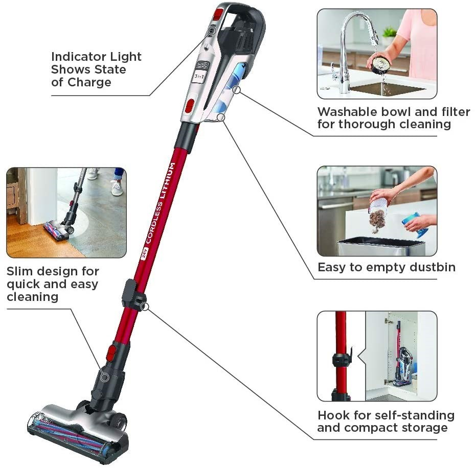 BLACK+DECKER Cordless Stick Vacuum, 3-in-1 Cordless, Red. Used. (SN:B02Z206