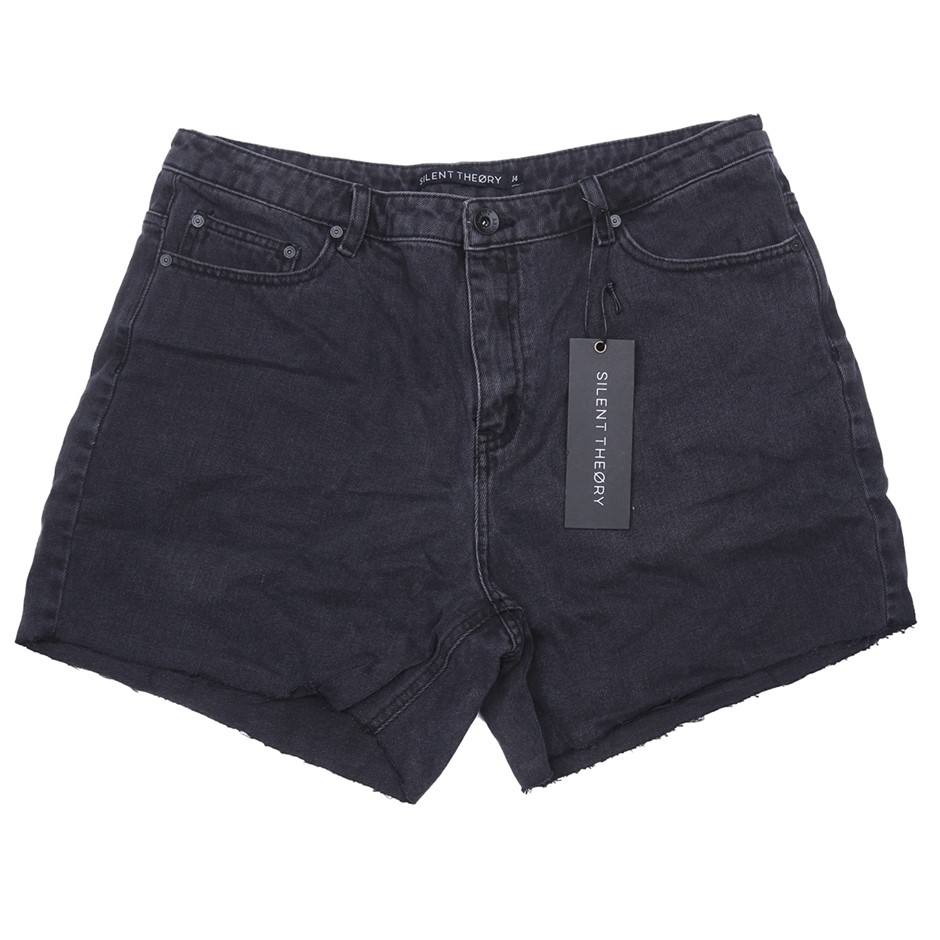 SILENT THEORY Womens Crushed Short, Colour Washed Black, Size 14. Buyers No