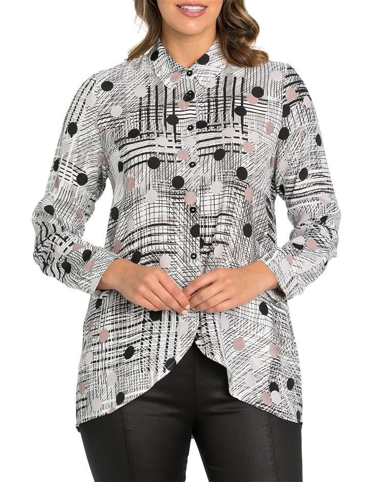 MARCO POLO Long Sleeve Sketch Spot Shirt. Size 14, Colour: Sketch Spot. 100