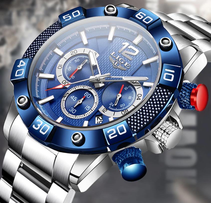 LIGE Men Business & Luxury Quartz SS Wrist Watch Lige 10030 SSB