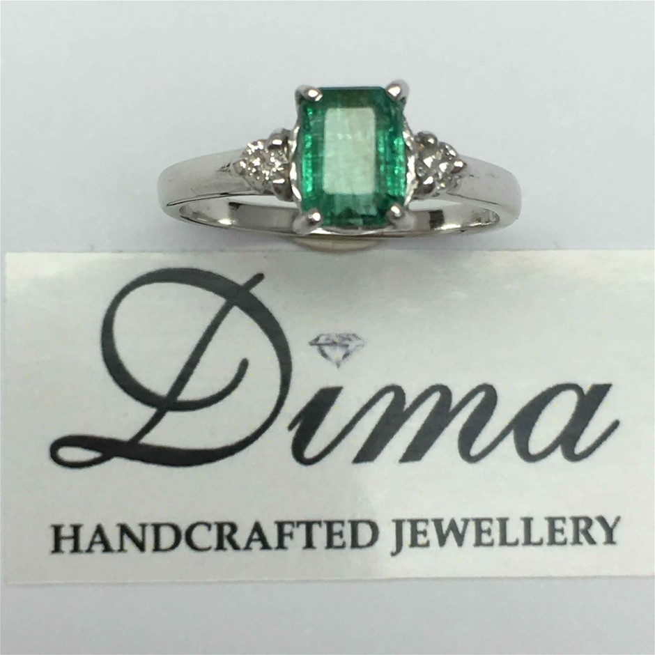 9ct White Gold, 1.48ct Emerald and Diamond Ring