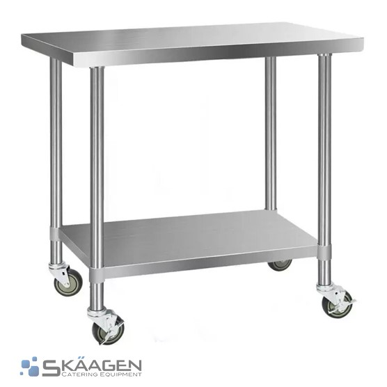 Unused 1220mm x 610mm Stainless Steel Bench Including 4 x Casters