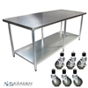 Unused 2440mm x 610mm Stainless Steel Bench Including 6 x Casters