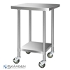 Unused 914mm x 760mm Stainless Steel Bench Including 4 x Casters