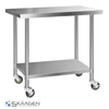 Unused 1220mm x 760mm Stainless Steel Bench Including 4 x Casters