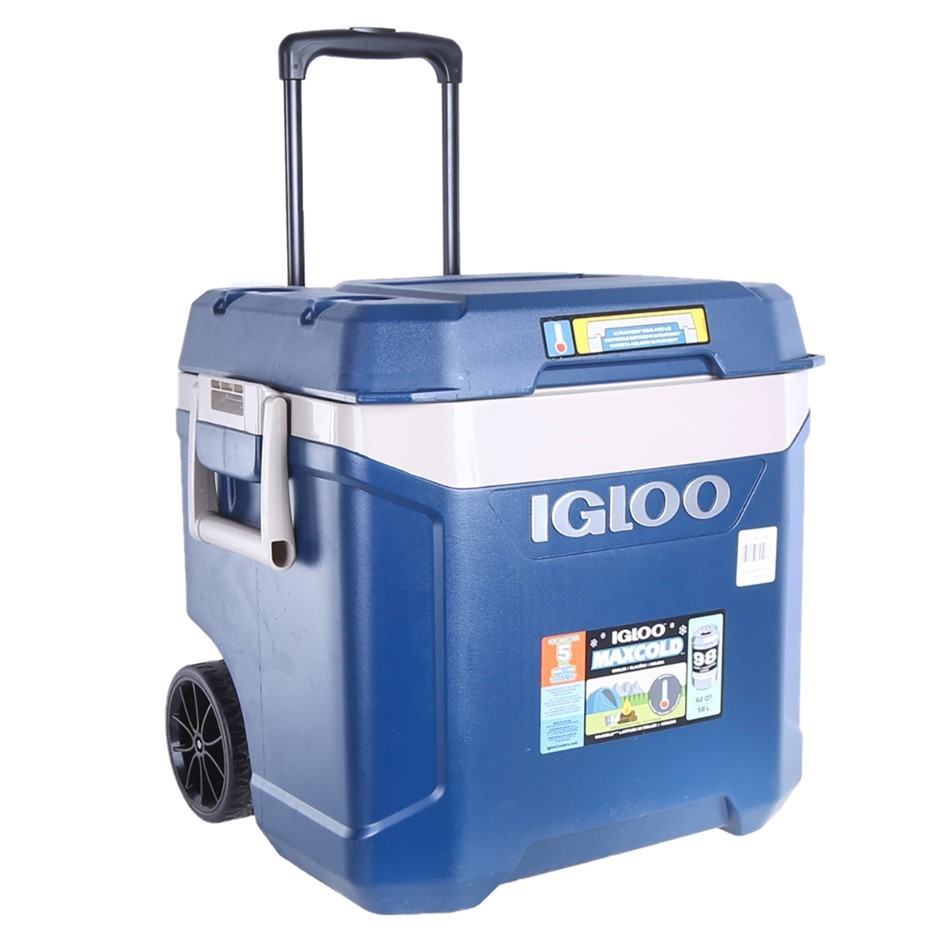 IGLOO MAXCOLD Cooler Box 58L/98 Cans with Wheels, Side Handles and Telescop