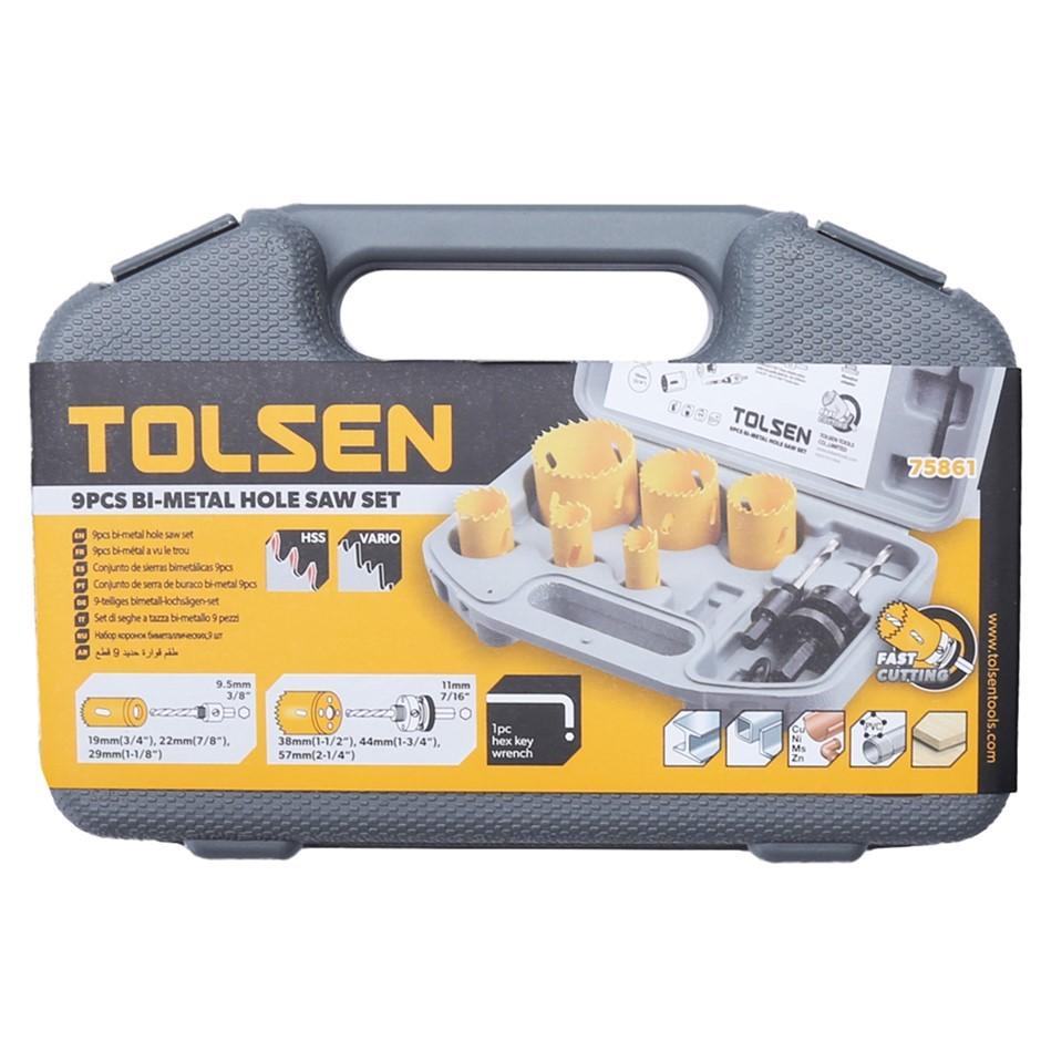 TOLSEN 9pcs Bi-Metal Hole Saw Set, 19mm, 22mm, 29mm, 38mm, 44mm & 57mm. Arb