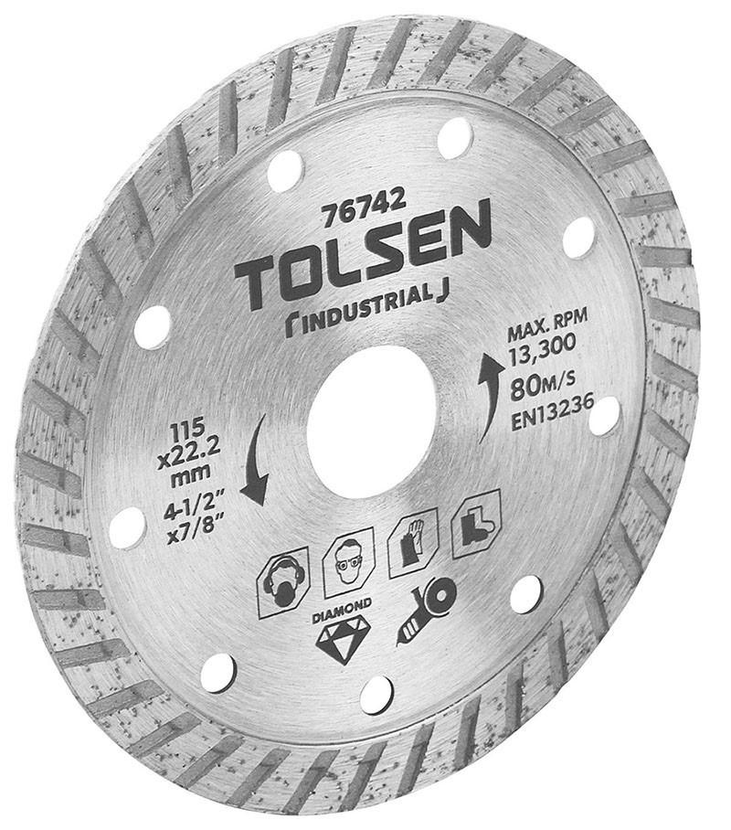 5 x TOLSEN Diamond Cut Blades, 115x22.2mm, Max RPM 13 300, Blade Width 10mm