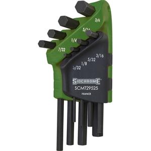 SIDCHROME 8pc AF Short Hex Key Set 3/32`