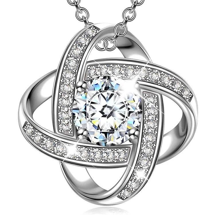 SimplySelena Cosmo Pendant With Complementary Necklace in Silver