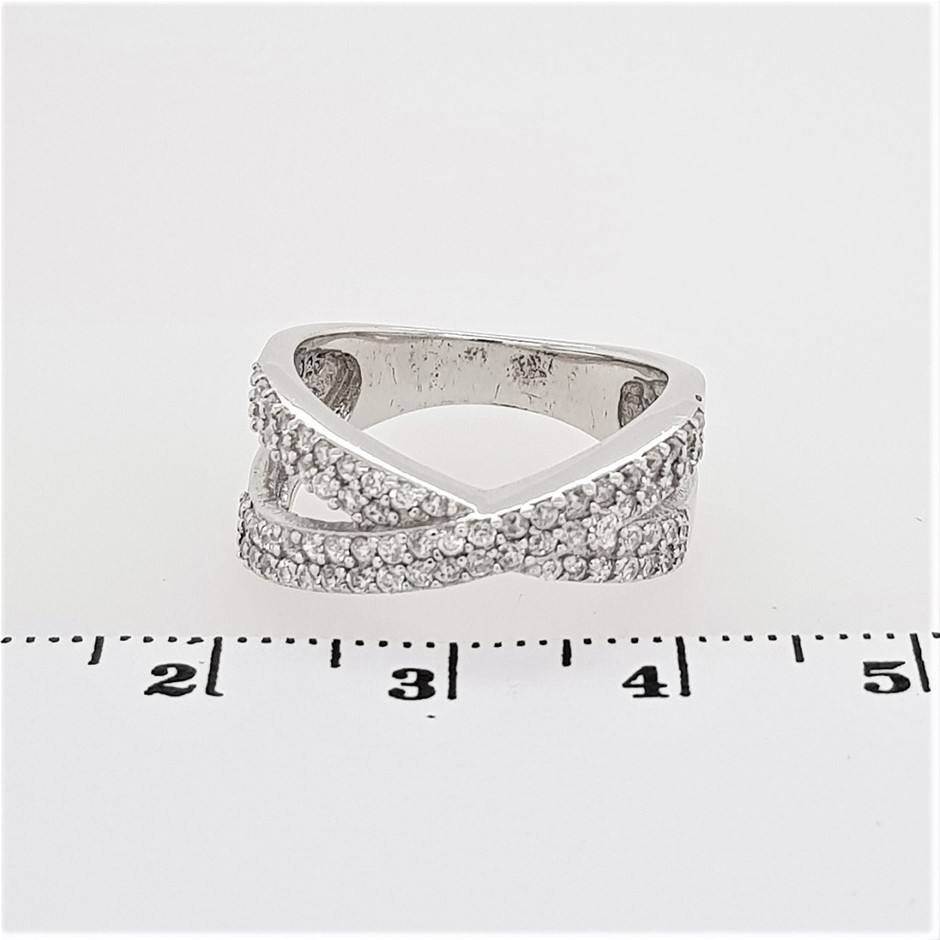 Sterling Silver White CZ Crossover Dress Ring.