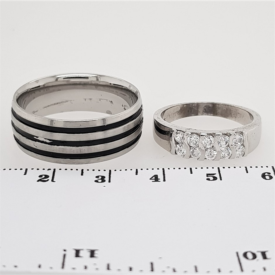 Sterling Silver White CZ & Stainless Steel Rings x 2.
