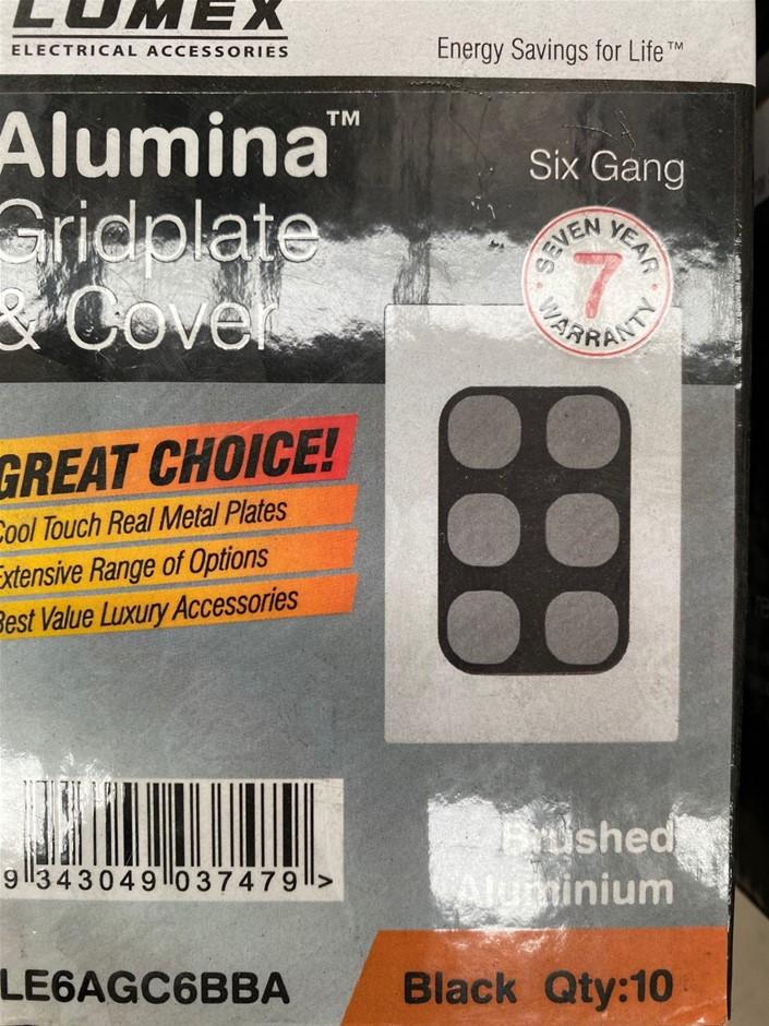 Qty 10 x Lumex Brushed Aluminium Alumina Gridplate (Real Metal Plates)