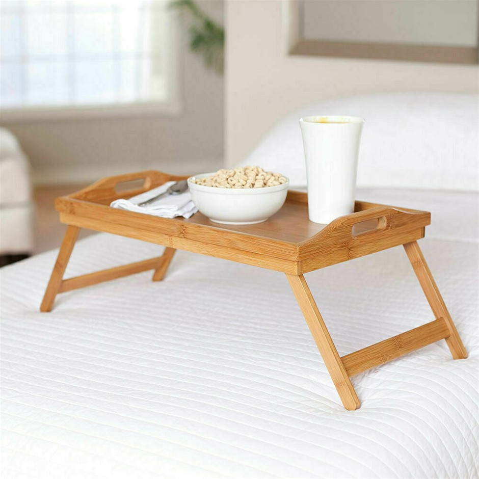 Versatile Bamboo Fold Up Lap Tray with Carved Handles