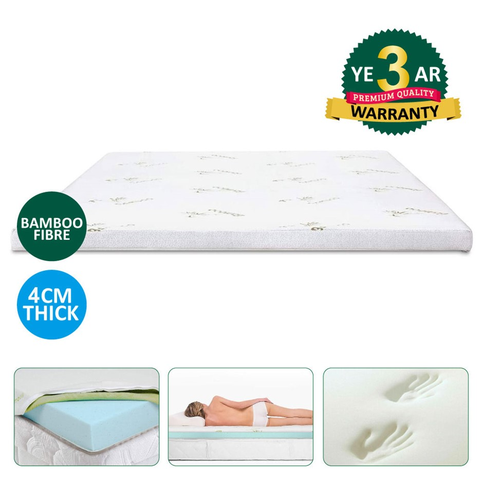 Memory Foam Mattress Topper with Bamboo Cover - Queen
