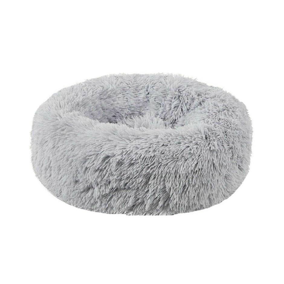 Plush Donut Faux Fur Calming Pet Nest - Grey - M