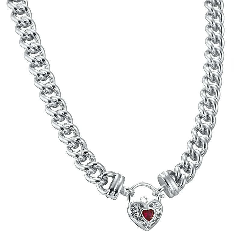 """20"""" Chunky Euro Necklace with a Filigree Locket Featuring a Simulated Ruby"""