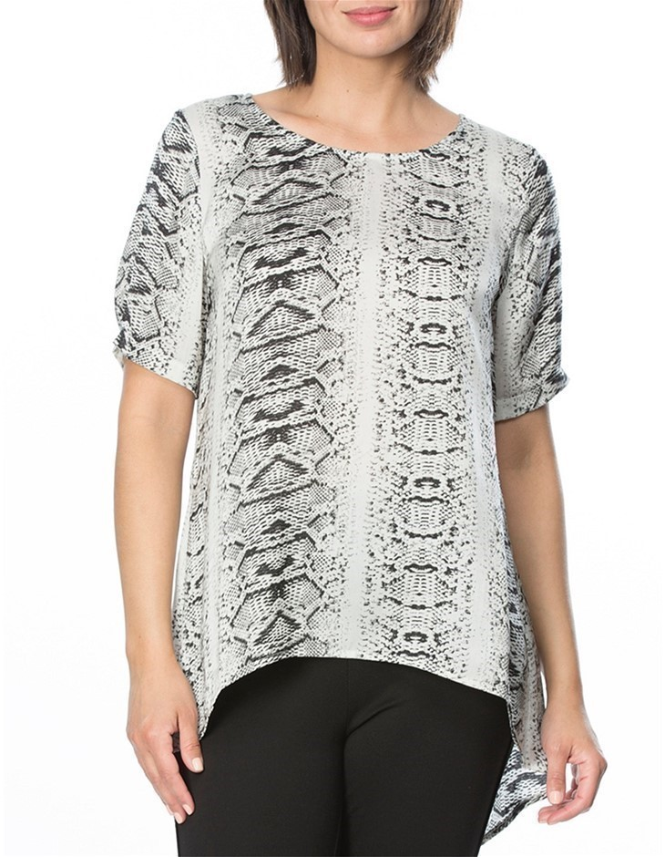 HAMMOCK AND VINE Animal Print Top. Size 22, Colour: Silver Print. 100% Poly