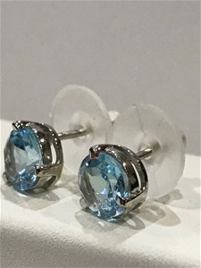 Blue Topaz Genuine 3.20ct & 18K White/ G