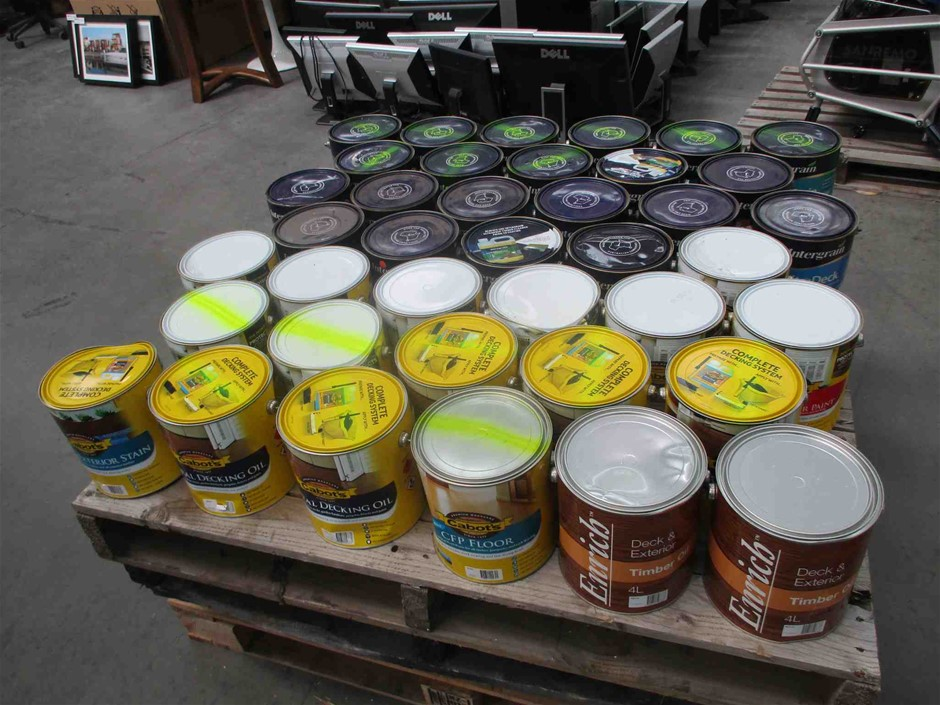 Qty 39 x 4 Litres Timber Paint Oils & Stains