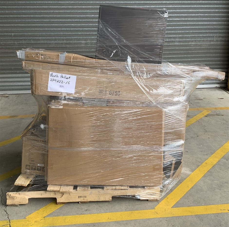 Pallet of Assorted Office Equipment, POS Protection Screens, Gaming Chairs