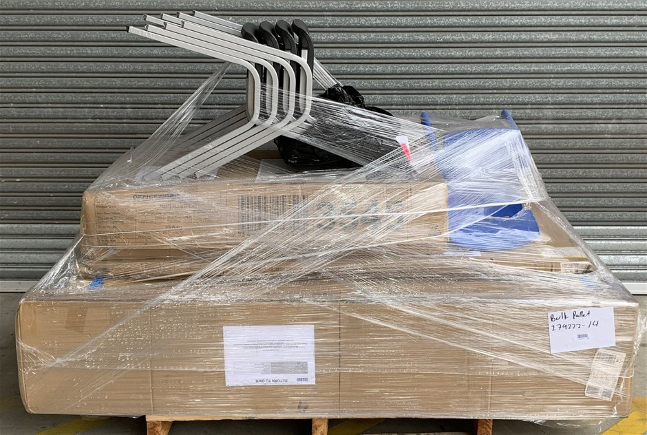 Pallet of Assorted Office Equipment, Visitor Chairs, Sit-Stand Desk