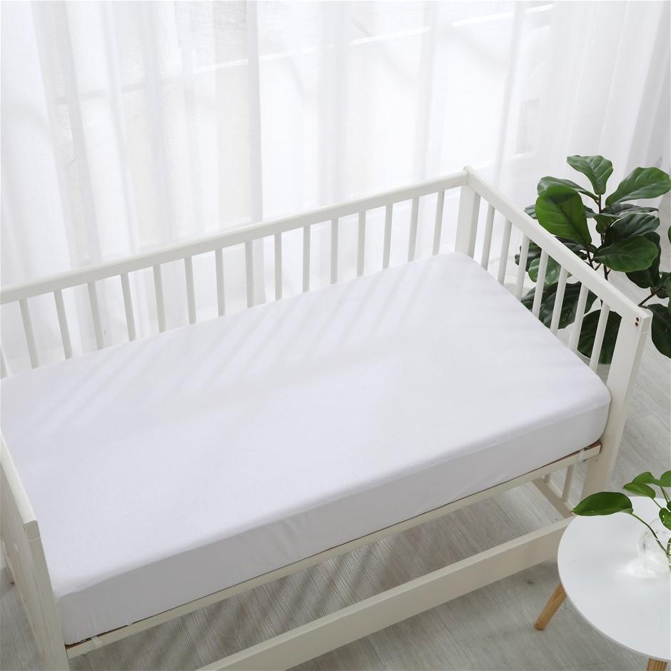 Dreamaker Bamboo Terry Cot Waterproof Mattress Protector White Boori