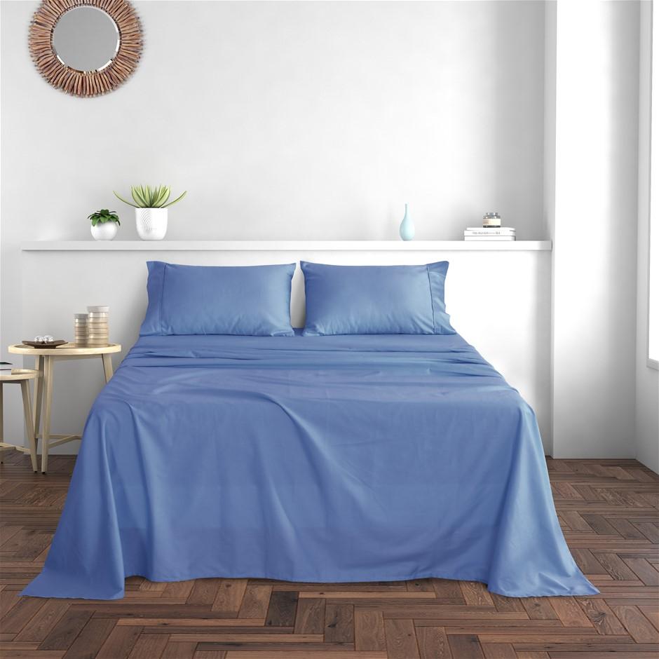 Dreamaker Cotton Sateen 300TC Sheet Set Costal Blue Queen Bed