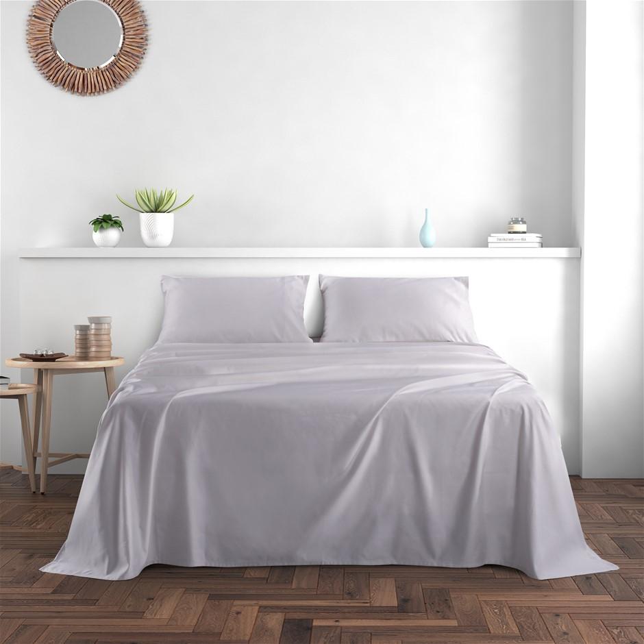 Dreamaker 1000TC Cotton Sateen Sheet Set Queen Bed Grey